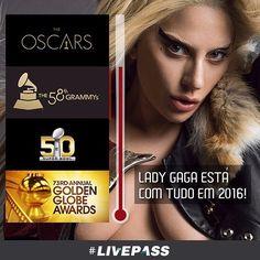 Super Bowl, Grammy, Oscar e Globo de Ouro: Lady Gaga está com tudo em 2016!  Hoje não perca a loira liderando a homenagem a David Bowie no 58º Grammy Awards. A premiação mais importante da música!  Programação no Brasil: 23hs. na TNT  #livepass #ladygaga #grammy #oscar #globodeouro #superbowl