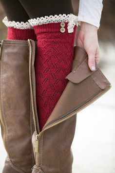 Thick Knit Lace Boot Socks - you can find these at Sam Moon. They have four different colors. Lace Boot Socks, Boot Cuffs, White Plum, Winter Wear, Autumn Winter Fashion, Lace Knitting, Knit Lace, Armband, Big 5