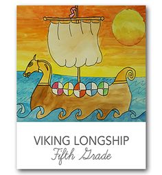 Viking Longship art lesson for elementary school