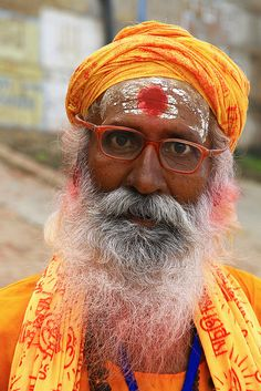 Portrait of a Hindu man in Varanasi, India. by cookiesound