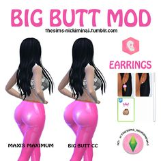 "The Sims 4 - Big Butt Mod CC IMPORTANT: - This is not a slider. Remember that you can find it in EARRINGS section at CAS (even though the .package file has ""Leggings"" name in it). It might not look. Sims 4 Body Mods, Sims 4 Game Mods, Sims Baby, Sims 4 Toddler, Sims Four, Sims 4 Mm, Nicki Minaj, Sims 4 Tattoos, Sims 4 Mods Clothes"