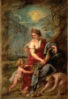 RUBENS, Peter Paul  : Abundance (Abundantia)   (c.1630)   oil on panel   63.7 x 45.8      The National Museum of Western Art, Tokyo