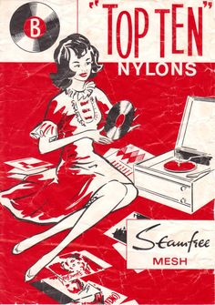 "Bear Brand stockings - ""Top Ten"" // Records and nylons must've been a recurring theorem in marketing. Vinyl Music, Vinyl Art, Vinyl Records, Retro Ads, Vintage Advertisements, Vintage Ads, Vintage Stockings, Nylon Stockings, Music Illustration"