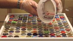 Bottle Cap table Top Tutorial , Want to make this in the kids new red , white and blue room. Maybe using Coke Tops? Don't forget to come and see us at http://bakedcomfortfood.com!