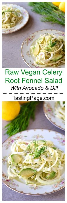 Raw Vegan Shaved Celery Root and Fennel Salad with Dill and Avocado - a healthy gluten free and vegan salad | TastingPage.com