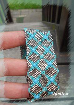 Double diamondback  modèle du Beadwork de juin схема biserok.org/braslet-iz-kvadratnyih-motivov/ Журнал  Beadwork June/July 2013