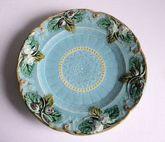 Antique French Majolica Plate Dessert Platter by LaBelleEpoqueDeco