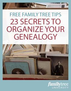 Beginning Tips and 23 Secrets to Organize Your Genealogy Papers and photos and sticky notes, oh my! Tame your family history research chaos with tips on getting started. Plus, a free genealogy organization ebook! Free Genealogy Sites, Genealogy Research, Family Genealogy, Genealogy Forms, Genealogy Humor, Genealogy Chart, Genealogy Organization, Organizing Papers, Organising