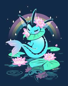 Vaporeon, water, reflection, cool, flowers, lilies, lillypads, rainbow, raining; Pokémon