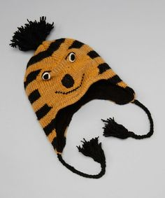 Take a look at this Brown & Black Tiger Wool Earflap Hat by Rising International on #zulily today! $9 !!