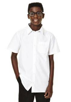 F&F School 2 Pack of Boys Non-Iron Short Sleeve School Shirts