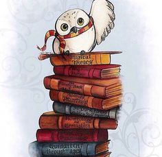 Hedwig but flying with a scroll in his claws. I love him wearing griffindors scarf.