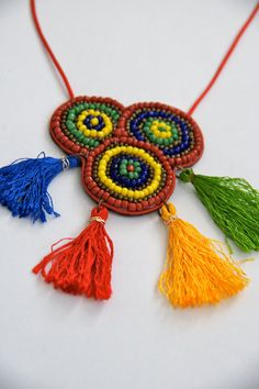 Embroidered Carnival Necklace with Tassels by PIUCalifornia