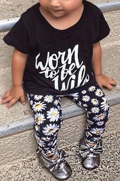 Stylish Short Sleeve Letter Pattern T-Shirt + Floral Print Pants Twinset For Girl
