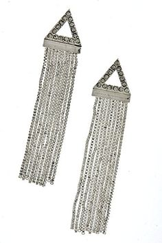 KARMAS CANVAS TRIANGLE CHAIN FRINGE EARRINGS Silver *** Check this awesome product by going to the link at the image. Note:It is Affiliate Link to Amazon.