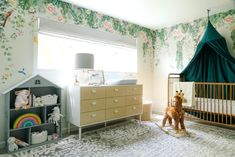 Feminine Modern Nursery with Tempaper Designs - Anne Sage Extra Wide Dresser, Pregnant With A Girl, How To Install Wallpaper, Chinoiserie Wallpaper, Nursery Wallpaper, Nursery Inspiration, Baby Time, Baby Decor, Beautiful Space