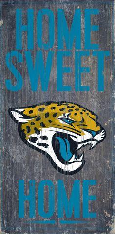 "Jacksonville Jaguars Wood Sign - Home Sweet Home 6""x12"""