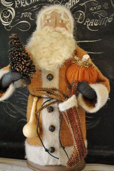 Primitive, Folk Art, Handmade Soft Sculpture Fall Santa Doll... Pumpkin Harvest Santa