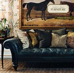 Richly-distressed indigo leather Chesterfield sofa by Ralph Lauren. Equestrian Decor, Equestrian Style, Equestrian Fashion, Maison Tudor, Sofas Vintage, Furniture Vintage, Leather Furniture, Wicker Furniture, Upholstered Furniture