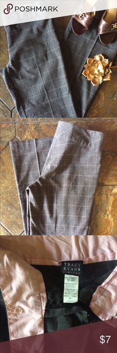 """Tracy Evans Plaid Dress Pants Juniors black with white and light pink Plaid print. Wide leg bottom  In excellent condition- selling because no longer fits   Measurements - size 11  Length from top to bottom - 40""""  Inseam - 30.75""""   Length across top laying flat - 16""""   Bottom width - 10"""" Tracy Evans  Pants Trousers"""