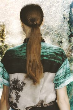 Boho chic pony tail hairstyles; celebrity model Dries van Noten, back stage spring 2012 fashion week