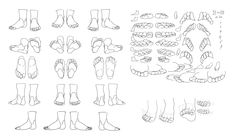 """Feet - Toes Movement/Rotation"" Reference Sheet Art Drawing Tips 