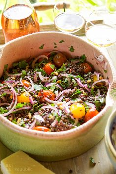 Roasted Cherry Tomato Lentil Salad Recipe with fresh herbs, capers, pine nuts (vegan, vegetarian, gluten-free) Lentil Salad Recipes, Vegetarian Recipes, Healthy Recipes, Vegan Vegetarian, Roasted Cherry Tomatoes, Grilling Recipes, Lentils, Clean Eating, Dinner Recipes