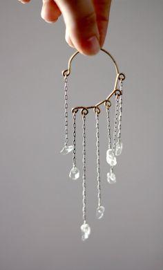 Quartz Crystal Ear Cuff Oxidized Silver No Piercing Unique Body Jewelry