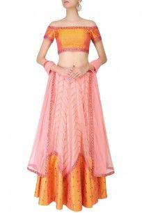 Yellow And Pink Two Tone Zigzag Lines And Sequins Motifs Lehenga Set #perniaspopupshop #priyalprakash #embroidered #ethnic #clothing #shopnow #happyshopping