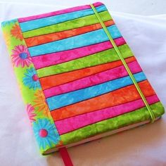 Hand Dyed Fabric Journal Cover, CRAZY DAISY, Pieced and Quilted, Bright Floral Backing Fabric.