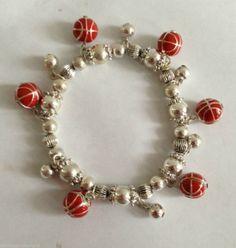 Basketball Bracelet Dangle Charms Jewelry Mom Sport Coach Gift Hoops Score Goal  #DavenportDesigns #StretchBraceletonPOWERCORDbrandstretch