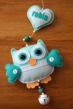 Handmade by JoHo - uilenslinger vilt - owl felt