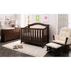 Magnolia Upholstered Crib-over –Max - Brown Dark Wood Nursery, Brown Nursery, Brown Crib, Nursery Neutral, Nursery Furniture Sets, Dark Furniture, Rustic Furniture, Kids Furniture, Furniture Decor
