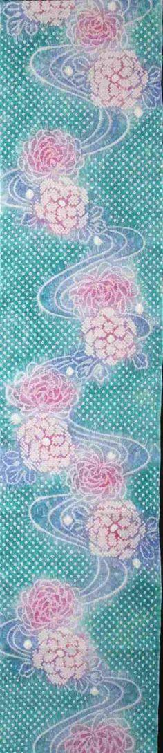 有松 絞りゆかた 反物 No.653  青緑・菊柄(1)
