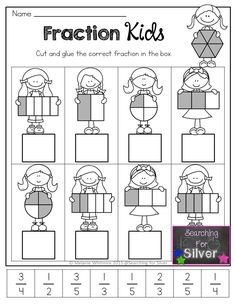 Spring Math & Literacy Printables Grade} Fraction Kids and other FUN and ENGAGING hands-on math printables for Spring! Math Literacy, Guided Math, Math Classroom, Kindergarten Math, Teaching Math, Elementary Math, Numeracy, Fractions Worksheets, Math Fractions