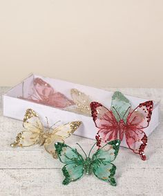 How beautiful would a silver or white tree trimmed with these Lace Butterfly Ornaments look?