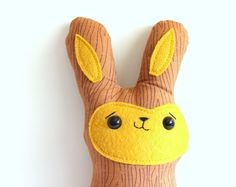 Woodrow the wood grain bunny. Limited Edition. Made to order