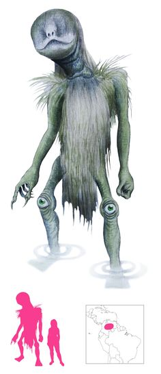 Munuanë - Roughly 9ft tall, these monstrous aquatic ogres are found in the waterways and lakes of South America, and are well-known for fashioning primitive boats and blocking rivers. If fishermen take more fish from their homes than they need, then they will hypnotise them into walking off ravines or cliffs. The eyes in the monsters' knees are their weaknesses.