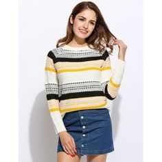 Women Long Sleeve Stripe Contrast Color Pullover Sweater