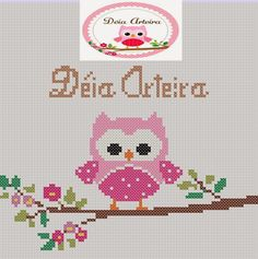 Χειροτεχνήματα Cross Stitch Owl, Cross Stitch Animals, Cross Stitch Charts, Cross Stitch Designs, Cross Stitching, Cross Stitch Embroidery, Cross Stitch Patterns, Pixel Crochet Blanket, Baby Girl Owl