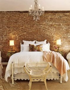 Ive always wanted a brick feature wall isn't this the most beautiful rustic yet elegant example