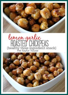 Lemon Garlic Roasted ChickPeas - The Taylor House Roasted Chickpeas Healthy, Crispy Chickpeas, Chefs, Vegan Recipes, Cooking Recipes, Good Food, Yummy Food, Appetizer Recipes, Appetizers