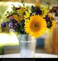 Sooo Summery ~metal market bucket & sunflowers