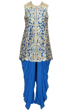 Blue embroidered jacket with dhoti pants available only at Pernia's Pop-Up Shop.