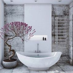 Contemporary All-White Loft Interior with Cool Appearance: Lovely Purple Flowers Near The White Tub Inside The Loft Style Country House Bathroom With Concrete Floor ~ SFXit Design Apartments Inspiration Apartment Interior Design, Bathroom Interior Design, Interior Modern, Simple Interior, Japanese Interior, Loft Stil, Japanese Bathroom, Style Loft, Appartement Design