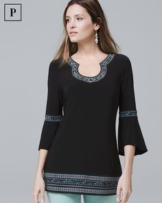 Petite Bell-Sleeve Matte-Jersey Embroidered Tunic