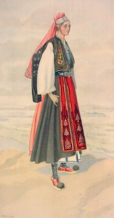 NICOLAS SPERLING Peasant Woman's Dress (Ionian Isls, Corfu, Lycoursi/Garitsa) 1930 lithograph on paper after original watercolour Costume Shop, Folk Costume, Ancient Greek Costumes, Greek Traditional Dress, Greek Dress, Guache, Costume Collection, Period Outfit, Historical Clothing