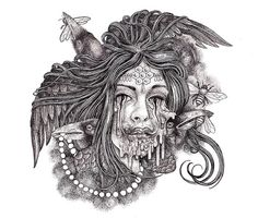 Drawings of life and death by Shaun Beaudry #bleaq #art #illustration #drawing #circle #woman #pencil