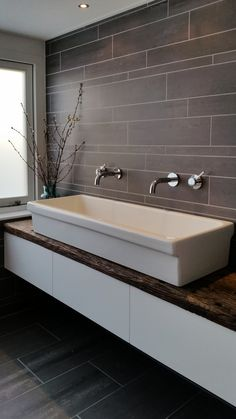 Bathroom furniture with reclaimed wood.
