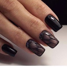 Beautiful black nails, Black gel polish for nails, Black nails ideas, Christmas gel polish, Delicate nails, Ideas of winter nails, Long nails, New year nails ideas 2017